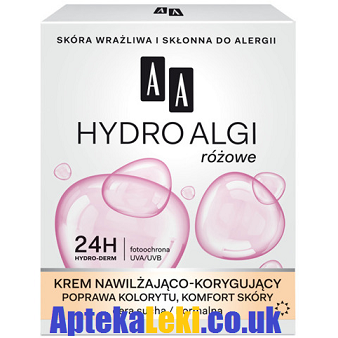 AA - Hydro Algi Różowe - KREM Nawilżająco-Korygujący do cery suchej i normalnej, na DZIEŃ i NOC, 50 ml.