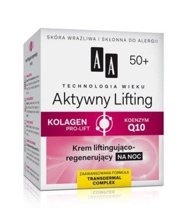AA - Technologia Wieku, Aktywny Lifting 50+ - KREM Liftingujący i Regenerujący na NOC, 50 ml.