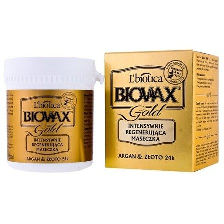 Biovax Glamour GOLD - MASECZKA intensywnie regenerująca do włosów z 24-karatowym złotem i olejkiem arganowym, 125 ml.