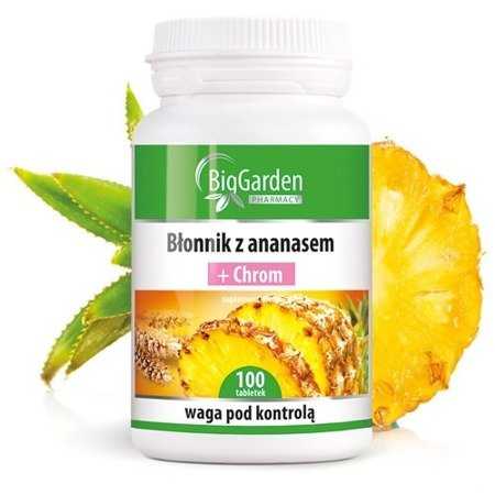 Błonnik z ananasem + Chrom, 100 tabletek. BigGarden
