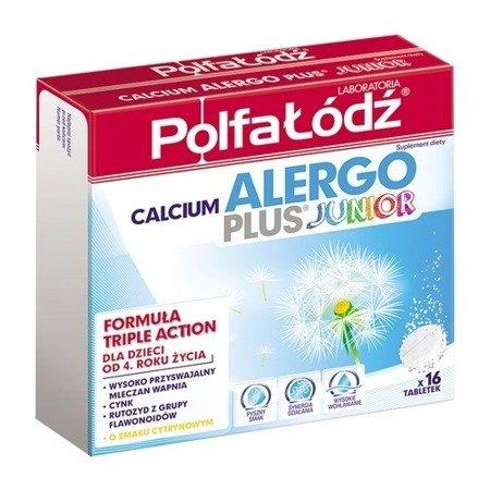 Calcium Alergo Plus Junior - Wapno musujące, 16 tabletek. (Polfa Łódź)