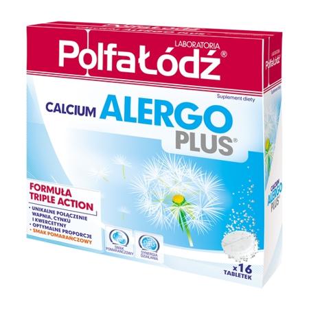 Calcium Alergo Plus - Wapno musujące, 16 tabletek. (Polfa Łódź)