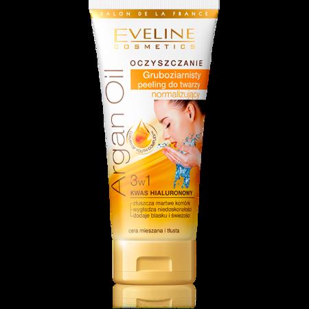 Eveline Oczyszczanie Argan Oil 3w1 - gruboziarnisty peeling normalizujący, 60 ml.