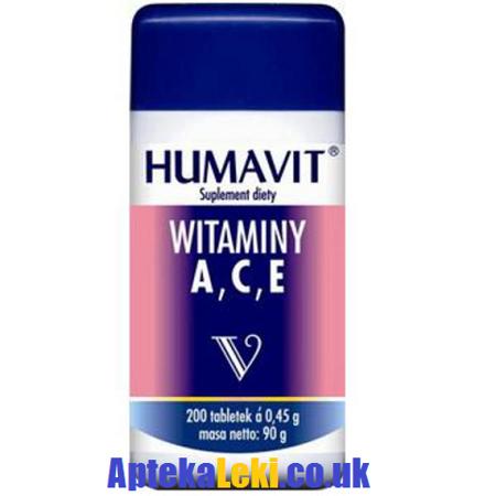 Witaminy A, C, E i witaminy z grupy B oraz drożdże piwowarskie/piwne, 200 tabletek.(Humavit)