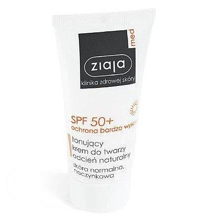 Ziaja MED - Ochrona SPF 50+ - KREM tonujący do twarzy, odcień naturalny, 50 ml.