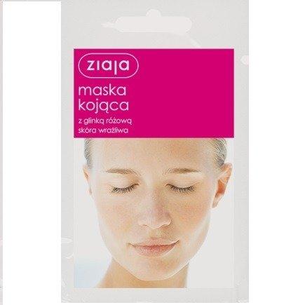 Ziaja - Maski z glinką - Maska Kojąca z glinką różową do cery wrażliwej, 7 ml.
